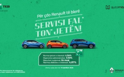 "TEB financon blerjen e Renault nga Auto Mita me ""Servis fal' ton' jetën❗️"""